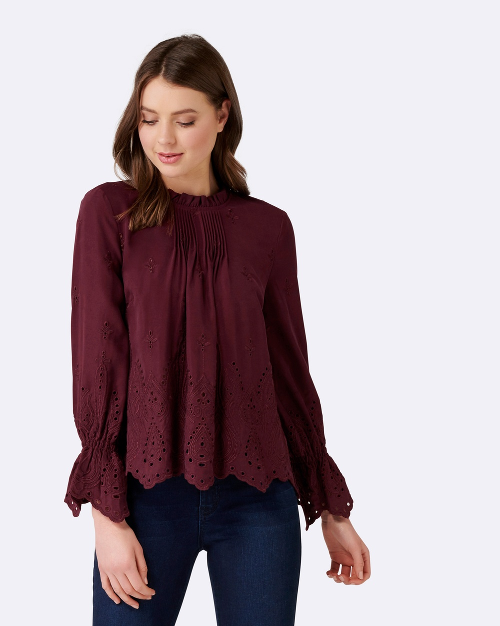 Forever New Victoriana Blouse Tops Wine Victoriana Blouse