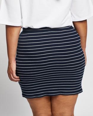 Atmos&Here Curvy Frida Wrap Skirt - Skirts (Navy Base White Stripe)