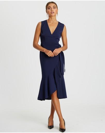 Reux Ritz Wrap Dress Midnight Blue