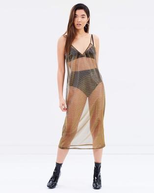 MINKPINK – Metallic Mesh Slip Dress – Dresses (Bronze)