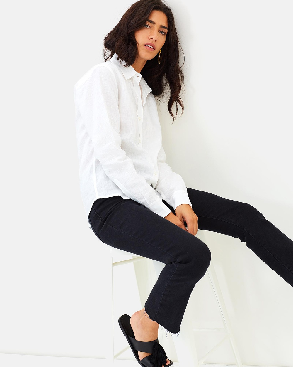 BU The Label Talia Linen Shirt Tops White Talia Linen Shirt