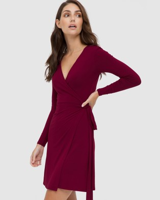 Bamboo Body Long Sleeve Wrap Dress - Dresses (Red)