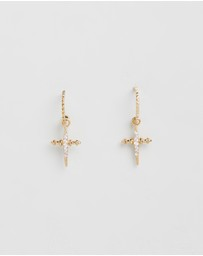 Pave Mini Cross Hoops
