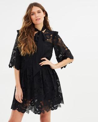 Perseverance – Floral Cut Out Lace Tie Neck Mini Dress Black
