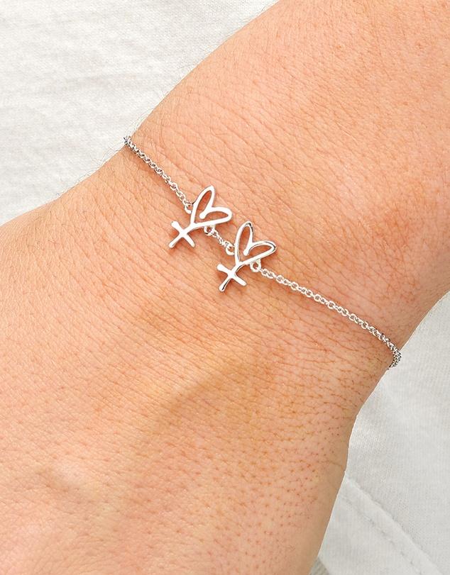 Women Small Twin Hearts Bracelet