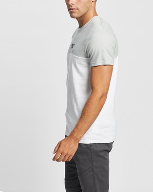 Hollister Must Haves Blocked Crew Tee - T-Shirts & Singlets (Grey Texture with White Yoke Blocking)