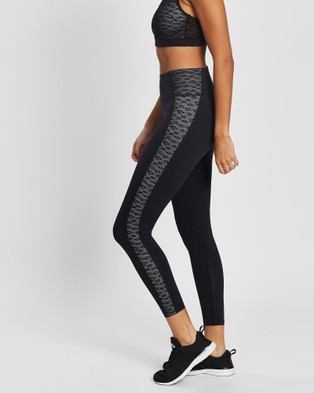 AVE Activewoman Leopard Mesh Side Panelled Full Tights - Full Tights (Black)