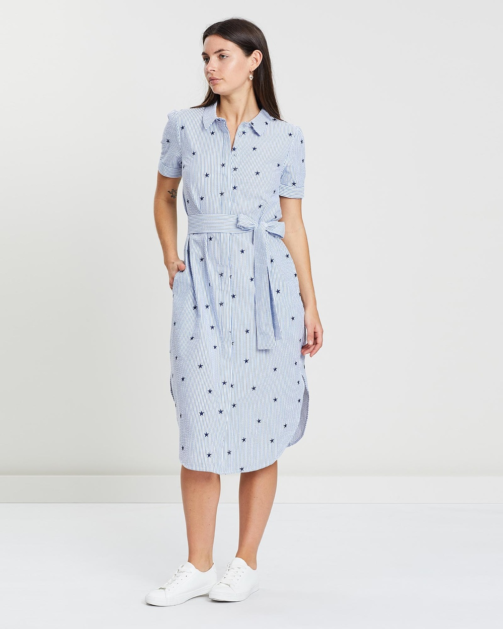 MESOP Star Stripe Hibiscus Midi Shirt Dress