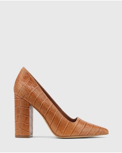 Wittner Webster Leather Block Heel Pointed Toe Pumps Tan