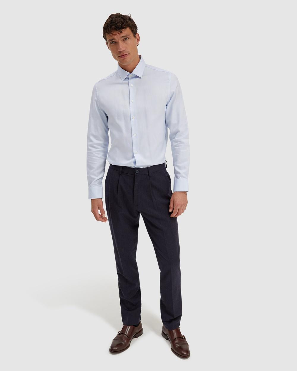 SABA Roger Long Sleeve Slim Textured Shirt Shirts & Polos blue Australia