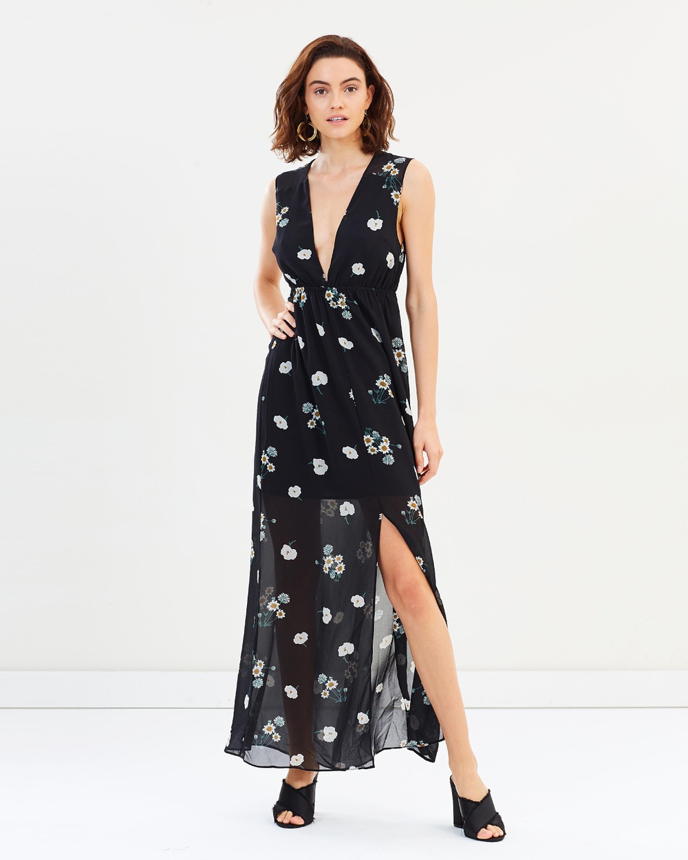 Dazie Wild Flower Days Maxi Dress Printed Dresses Black Base Floral Wild Flower Days Maxi Dress