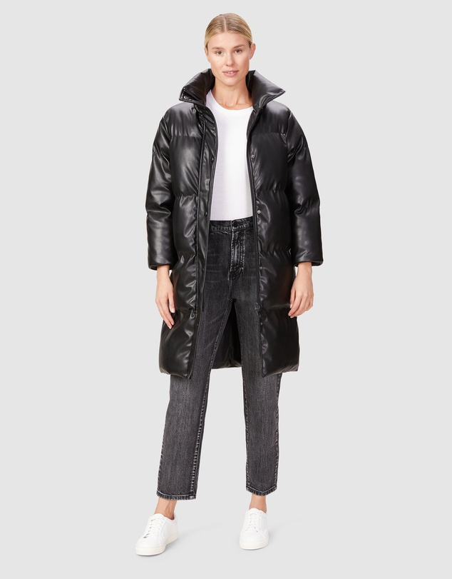 Women Leather Look Longline Puffer