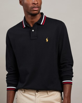 Polo Ralph Lauren Basic Mesh Long Sleeve Knit Polo - Shirts & Polos (Polo Black)
