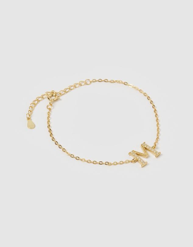 Women Crystal Letter M Bracelet