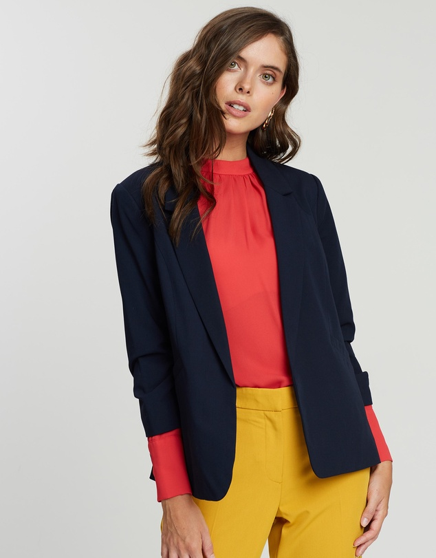 DP Petite - Ruched Sleeve Jacket