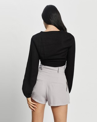 Glamorous Linen Tie Front Crop - Cropped tops (Black)