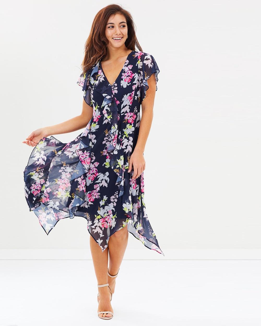 Wallis Floral Hem Dress Printed Dresses Navy Blue Floral Hem Dress
