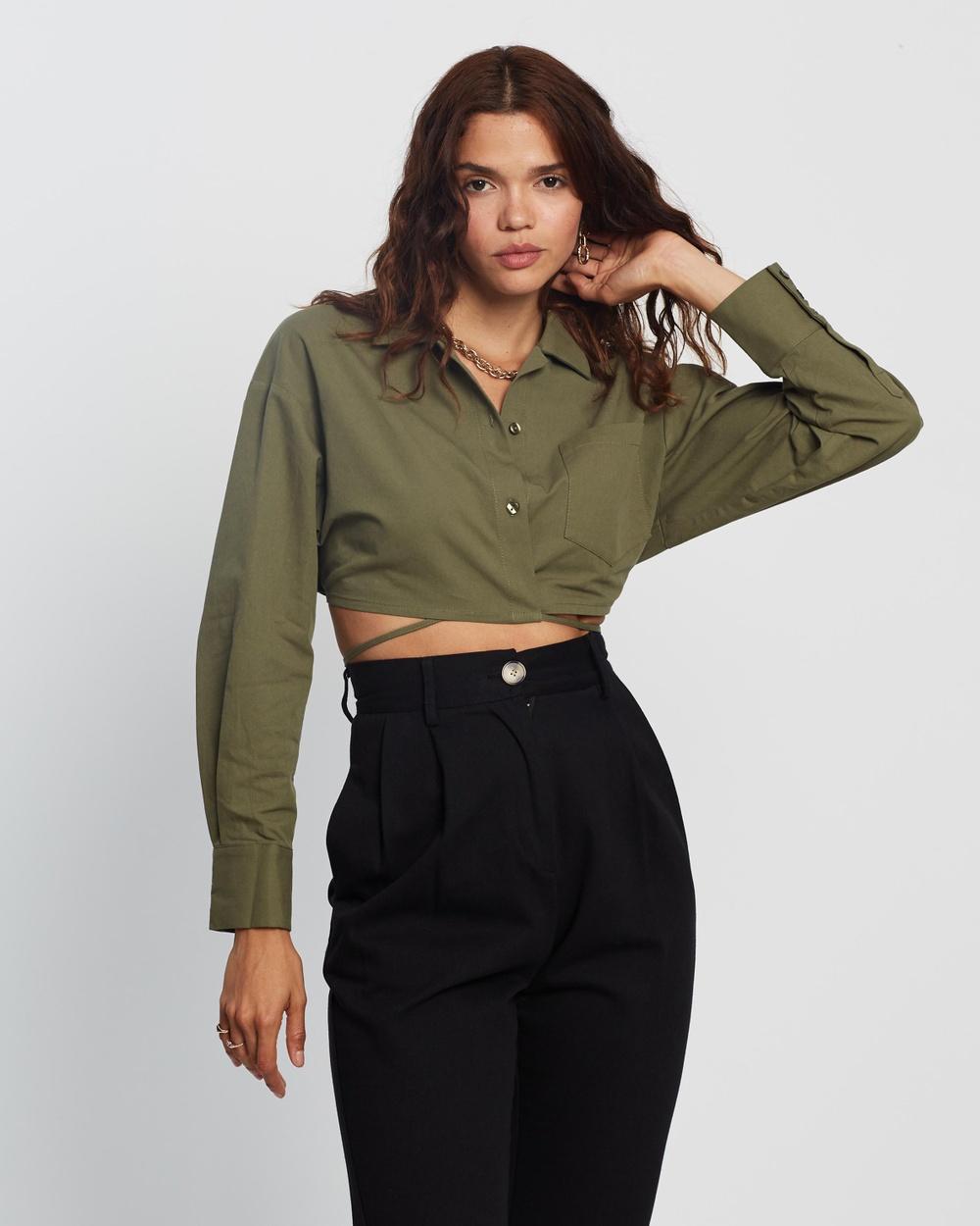 AERE Organic Cotton Cross Front Shirt Cropped tops Khaki