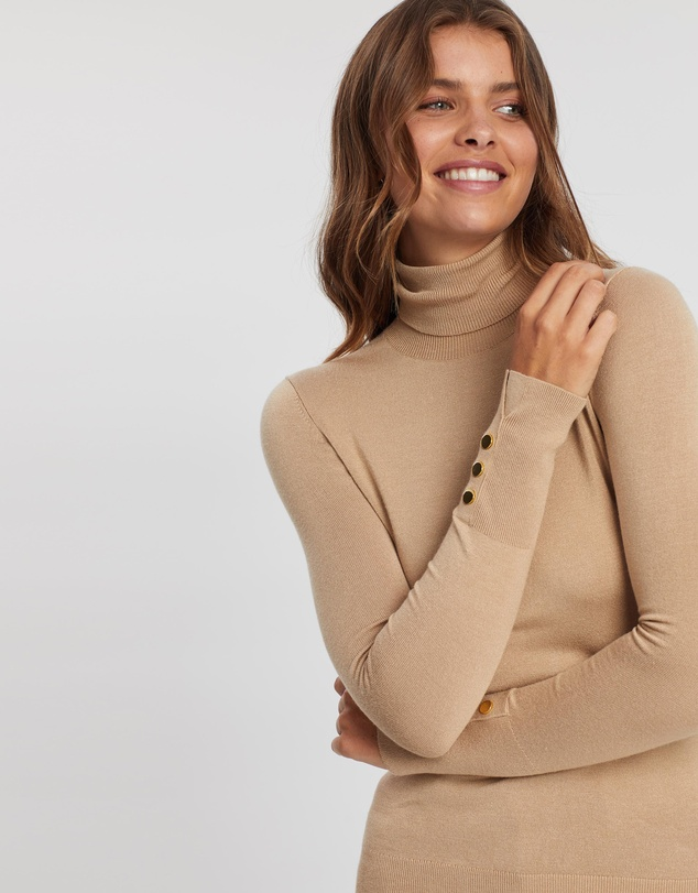 Atmos&Here - Turtleneck Knit with Golden Buttons