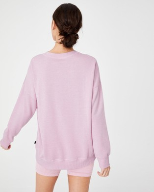 Cotton On Body Active Lifestyle Long Sleeve Crew Top Necks (Soft Violet Marle)