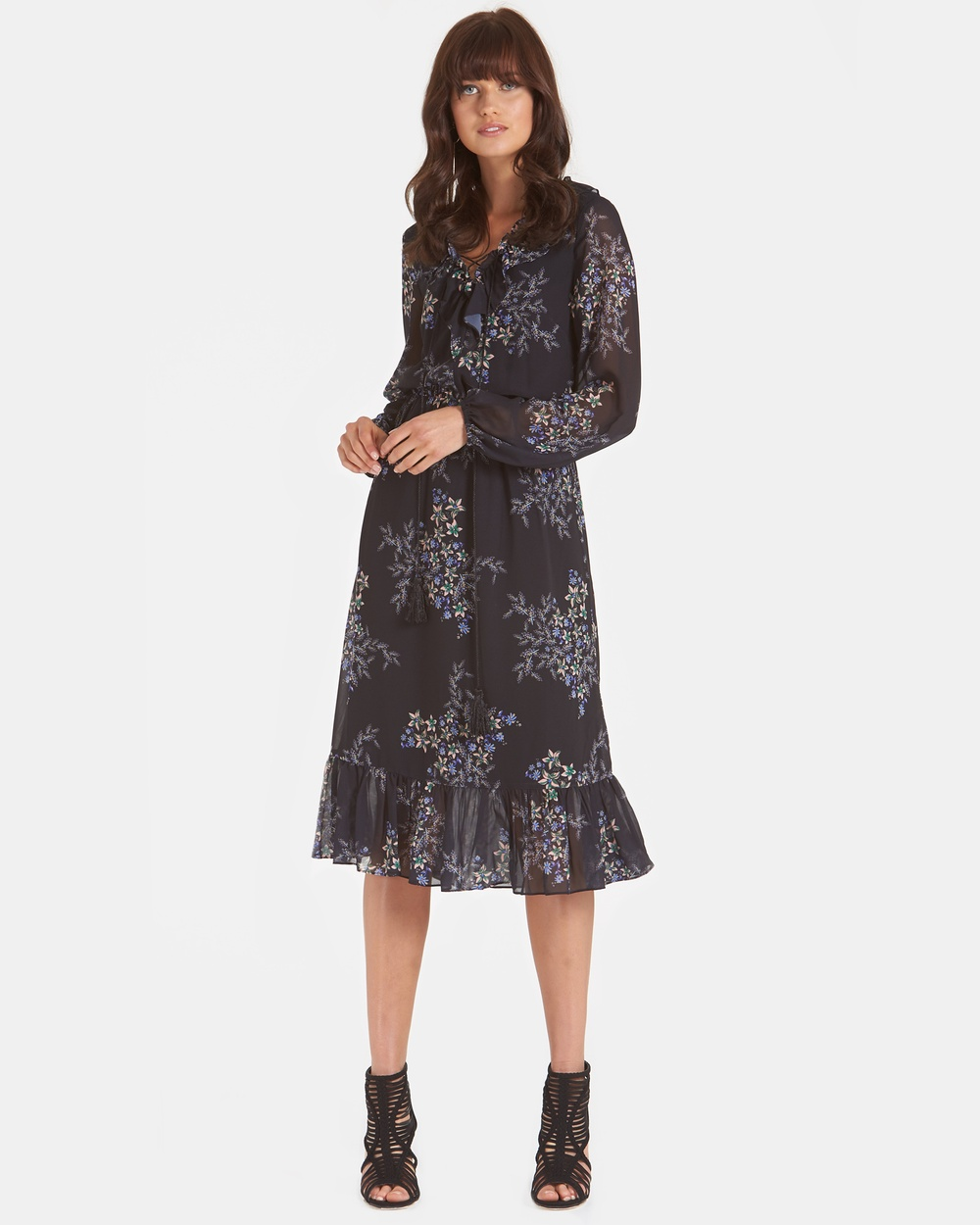 Amelius Multi Gypsy Folk Midi Dress