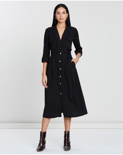 Atmos&here Kiran Pocket Shirt Dress Black