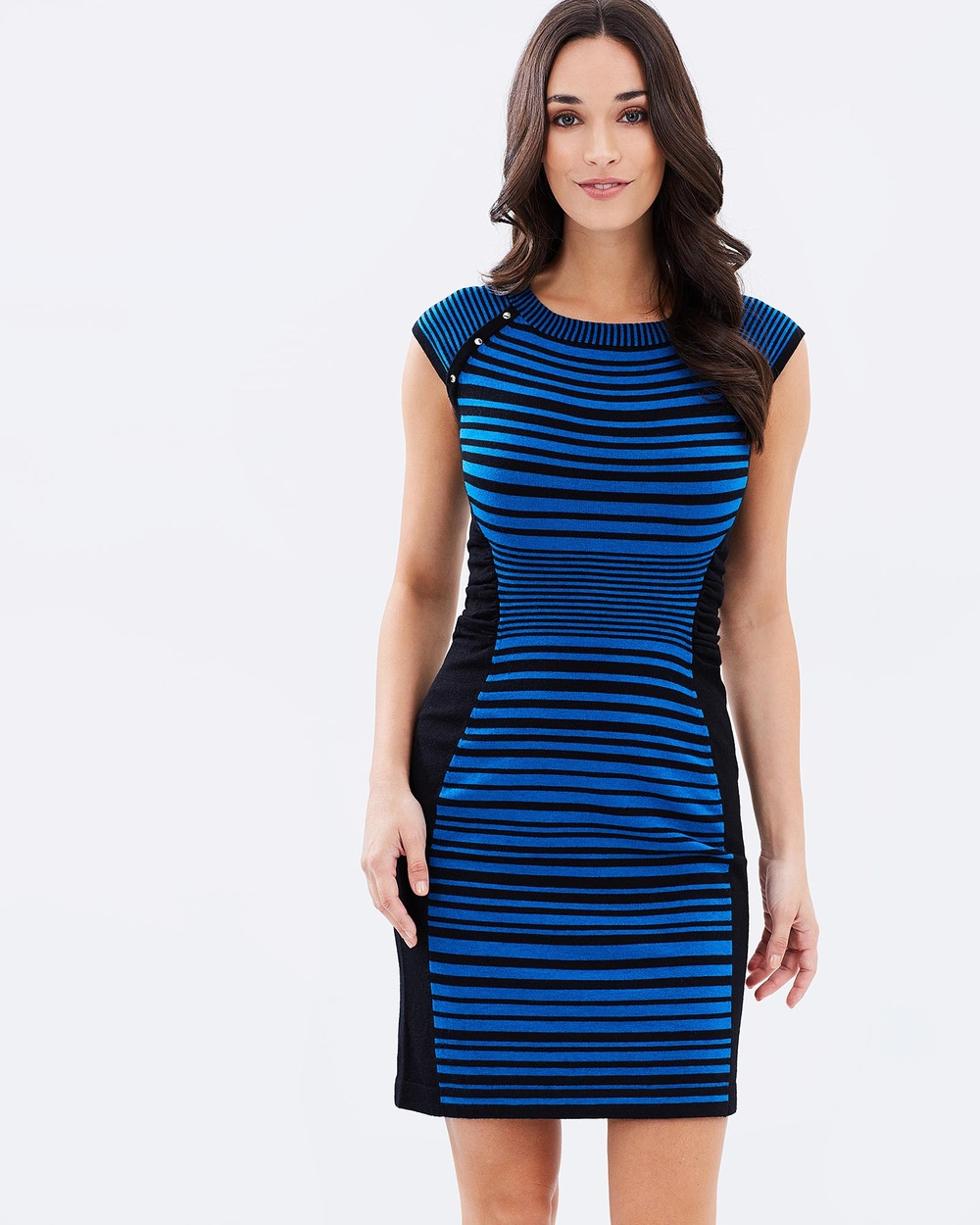 Privilege Knit Dress Bodycon Dresses Blue & Black Knit Dress