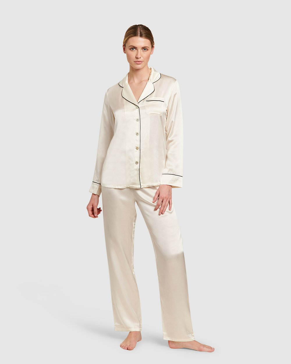 c4349b6e55a3 Silk Pyjamas With Contrast Piping by GINIA Online