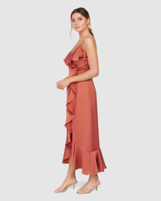 Forever New - Ivana Wrap Frill Midi Dress - Dresses (Rose Rust ) Ivana Wrap Frill Midi Dress