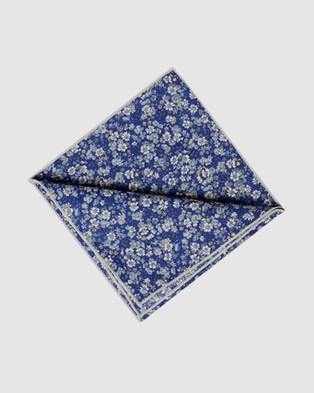 Buckle Flora Pocket Square - Pocket Squares (Blue/Yellow)