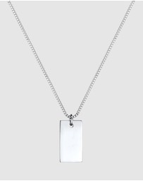 Elli Jewelry - Necklace Rectangle Pedant Geo Look Basic Minimal in 925 Sterling Silver