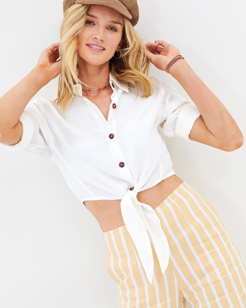 Faithfull Beau Rivage Top Cropped tops Plain Off-White Textured Beau Rivage Top