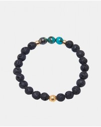 Nialaya Jewellery - Men's Wristband with Lava Stone and Bali Turqouise