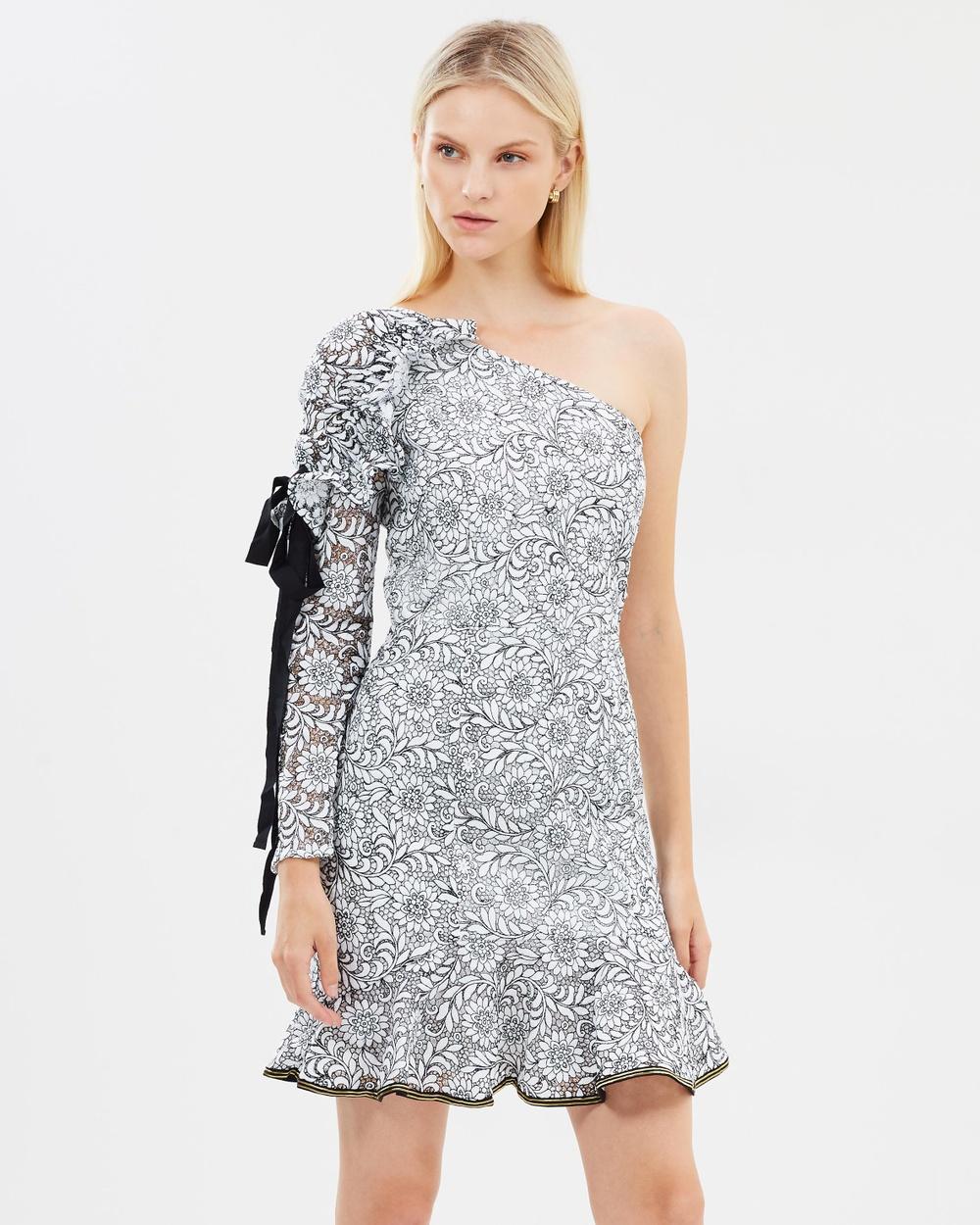 Rebecca Vallance Sofia One Shoulder Dress Dresses Black & White Sofia One Shoulder Dress