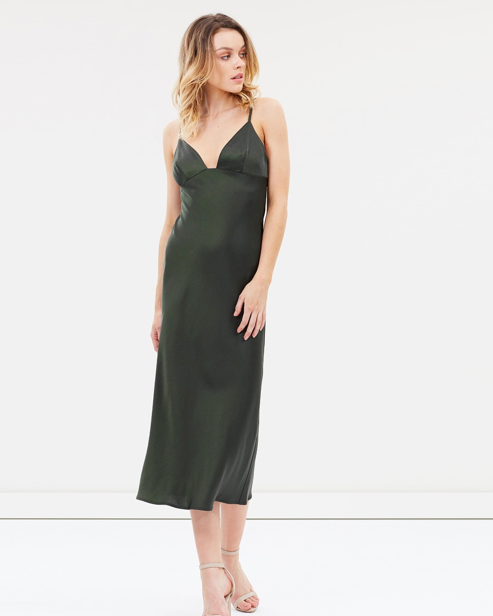 Shona Joy Bias Slip Midi Dress Dresses Khaki Bias Slip Midi Dress