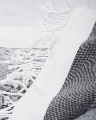 Miz Casa and Co Ibiza Turkish Towel Black & Grey - Towels (Black & Grey)