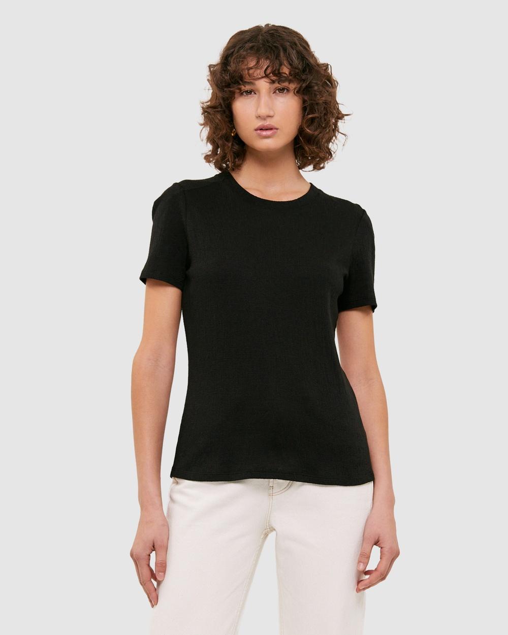 SABA Lucille Textured Tee T-Shirts & Singlets Black Australia