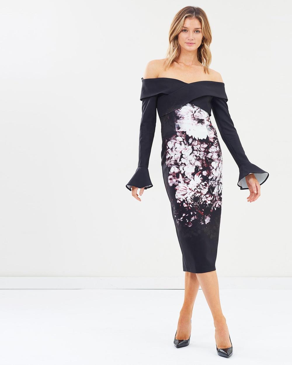Pasduchas Constance Shoulder Midi Dress Printed Dresses Floral Constance Shoulder Midi Dress