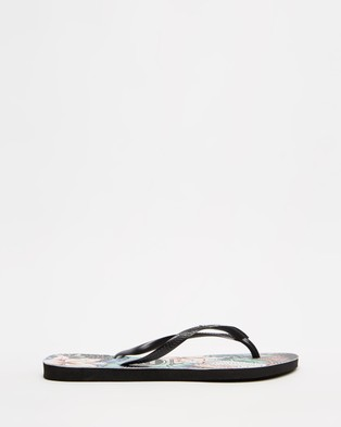Havaianas - Slim Floral Dots   Women's - All thongs (Black) Slim Floral Dots - Women's