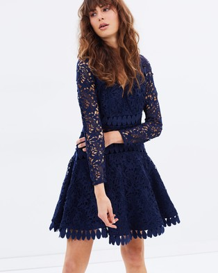 Talulah – Aquino Lace LS Dress Navy