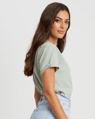 Calli Floral Tee - T-Shirts & Singlets (Sage & White Logo)
