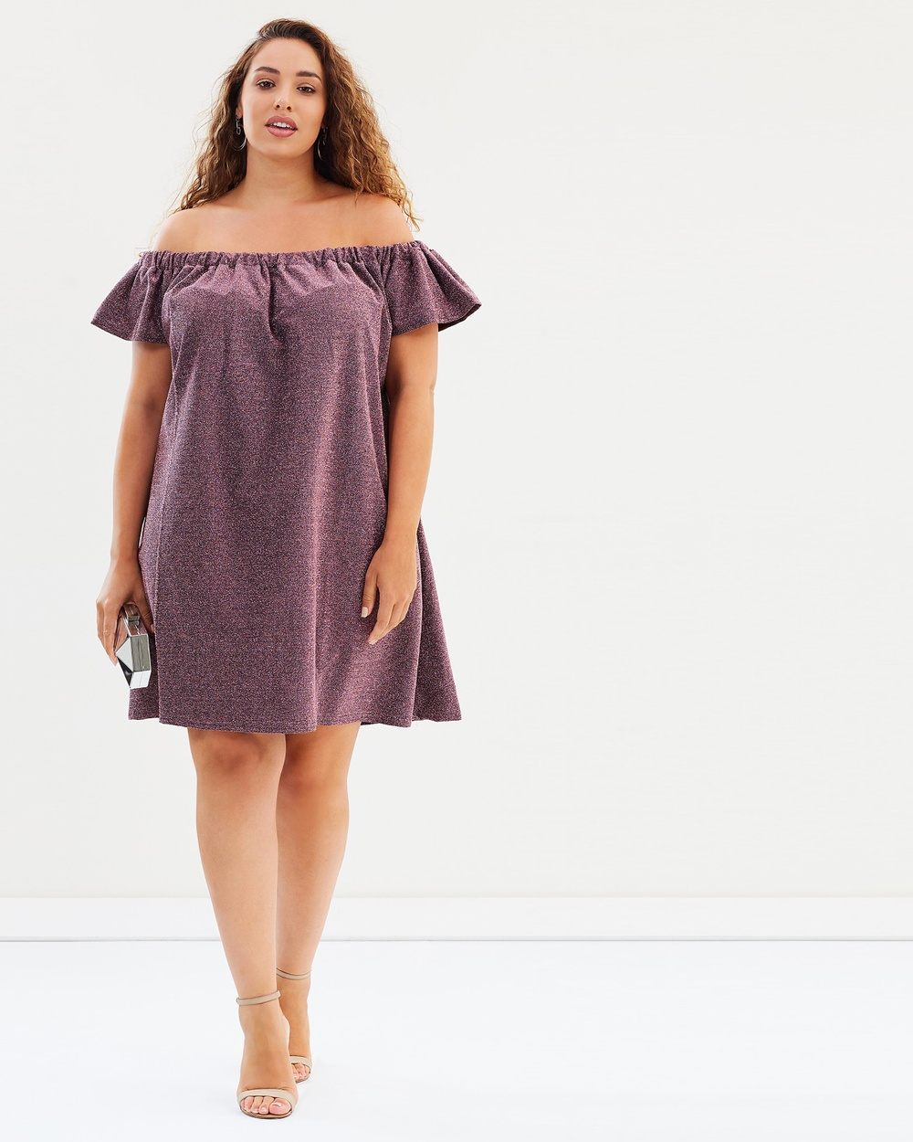 Lost Ink Plus Bardot Dress in Sparkle Jersey Dresses Pink Bardot Dress in Sparkle Jersey