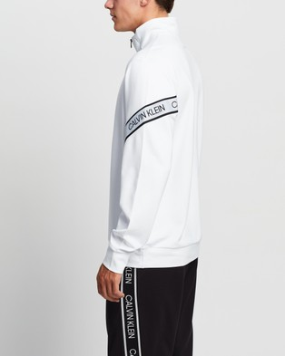 Calvin Klein Performance - Active Icon Two Tone Elastic Band 1 4 Zip Pullover Sweats (Bright White) 1-4