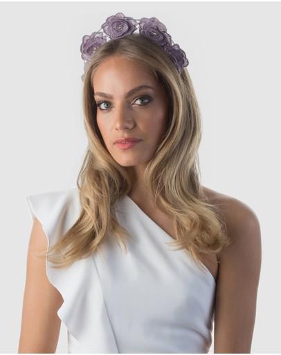 Olga Berg Finley Guipure Lace Headband Lilac