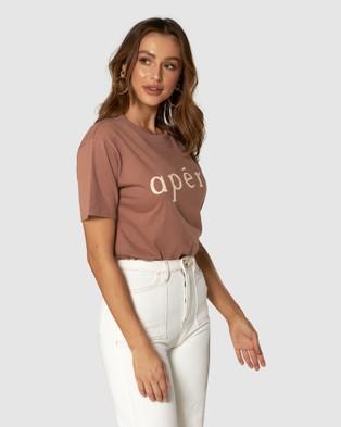 Apero Label - Ap??ro Printed Tee - T-Shirts & Singlets (Brown) Ap??ro Printed Tee