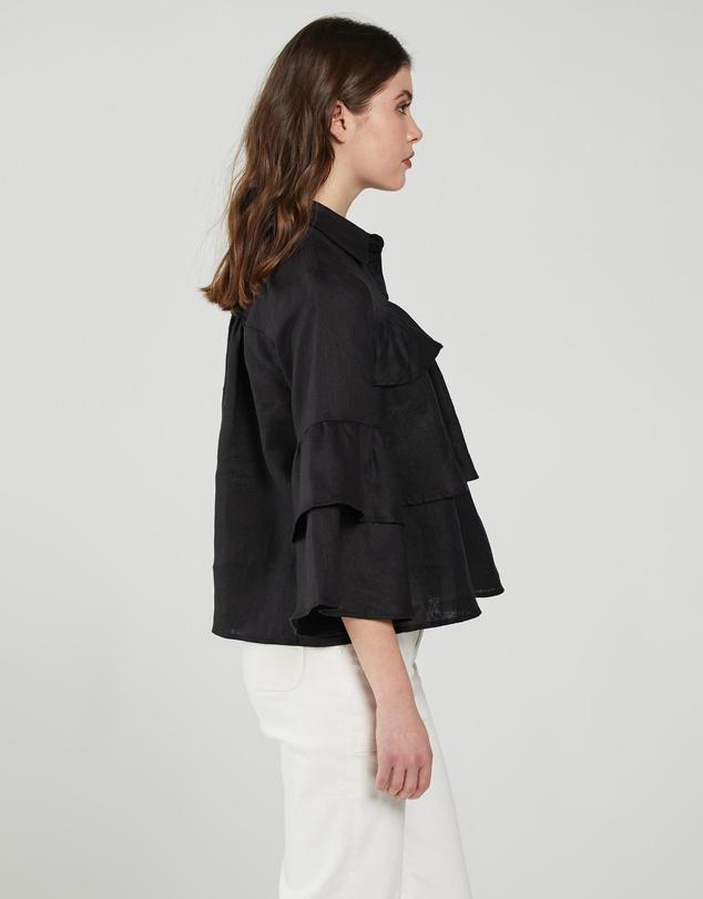 Women Frill Detail Linen Shirt
