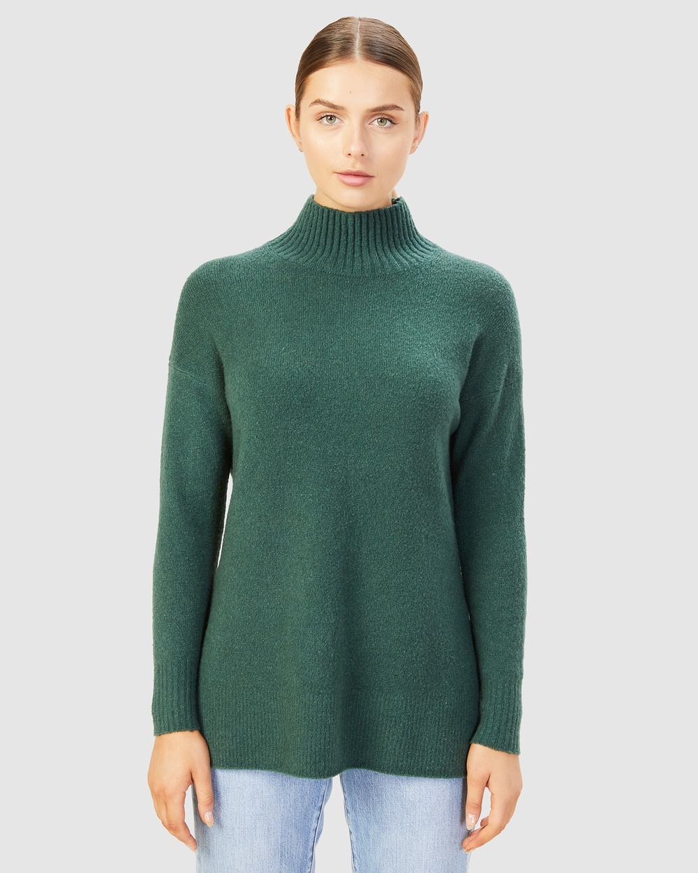 French Connection Cosy High Neck Knit Jumpers & Cardigans FOREST GREEN Australia