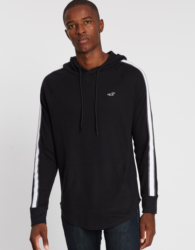 Hollister - Long Sleeve Taped Waffle Hoodie