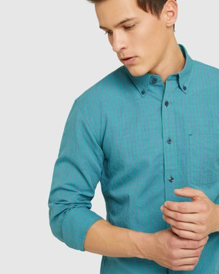 Oxford Uxbridge Linen Cotton Check Shirt - Casual shirts (Green)