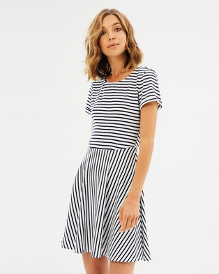 Atmos & Here – Alice Stripe Tee Dress Navy Stripe